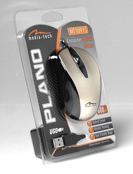 Mysz optyczna 800dpi srebrna MT1091S
