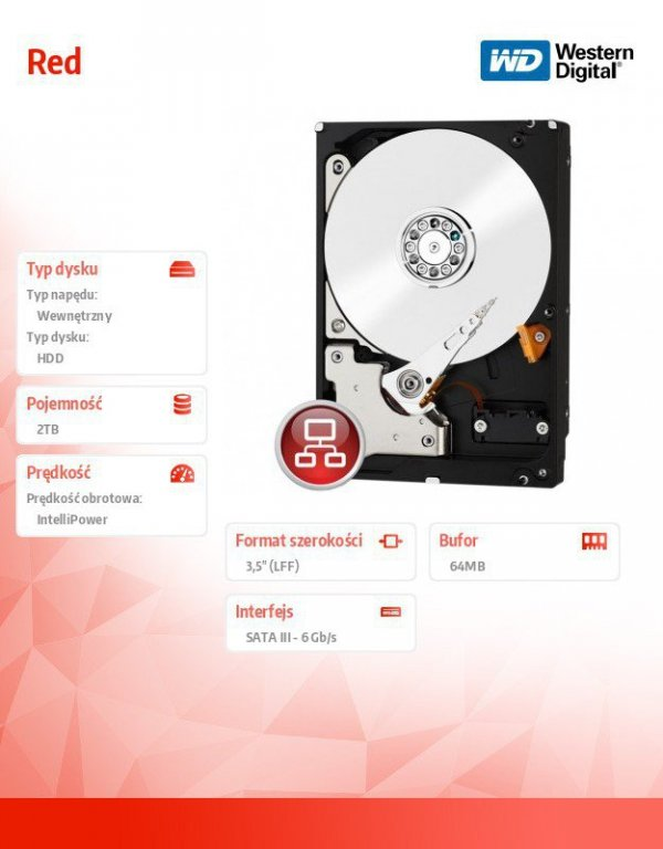 WD Red Plus 2TB 3,5' CMR 64MB / 5400RPM Class