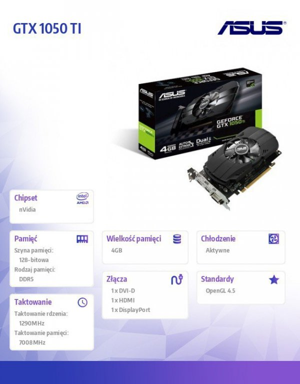 Karta graficzna GeForce GTX 1050 TI 4GB 128BIT DVI/HDMI/DP