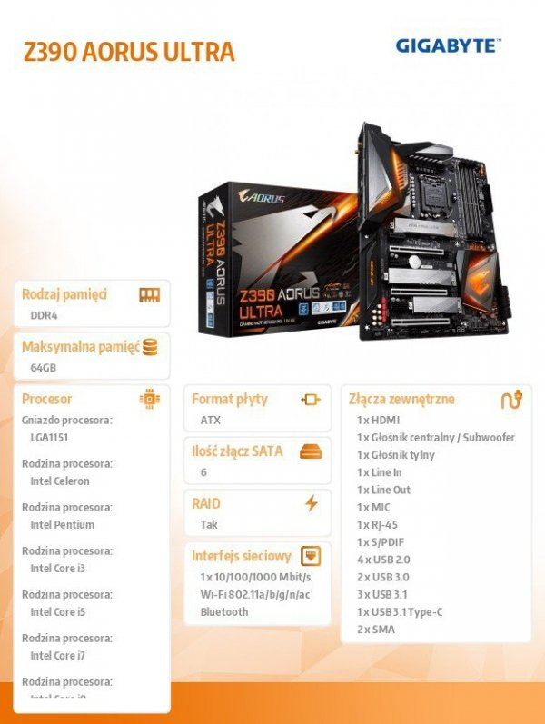 Płyta główna Z390 AORUS ULTRA s1151 4DDR4 HDMI/USB-C M.2 ATX