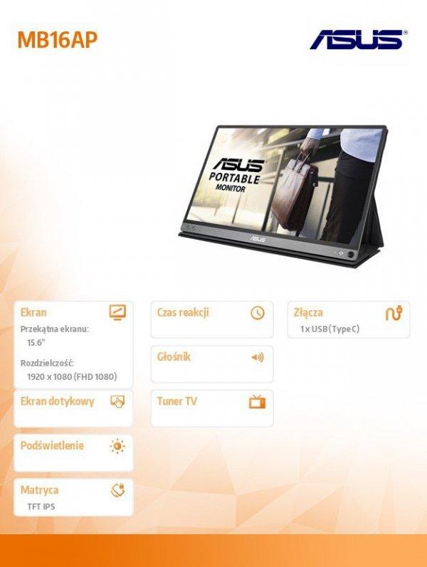 Monitor przenośny USB ZenScreen GO MB16AP IPS FHD USB-C 15.6'' 9W 0.85kg