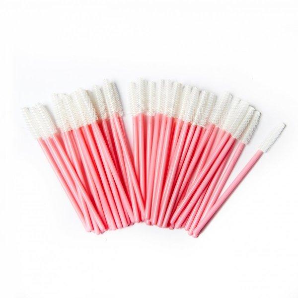 Pettine per ciglia in silicone rosa - bianco