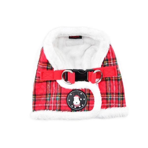 ocieplane, świąteczne  szelki - kamizelka w czerwoną kratkę od Puppia