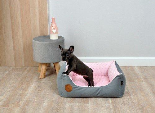 CEZAR bed gray - pink minky Lauren Design