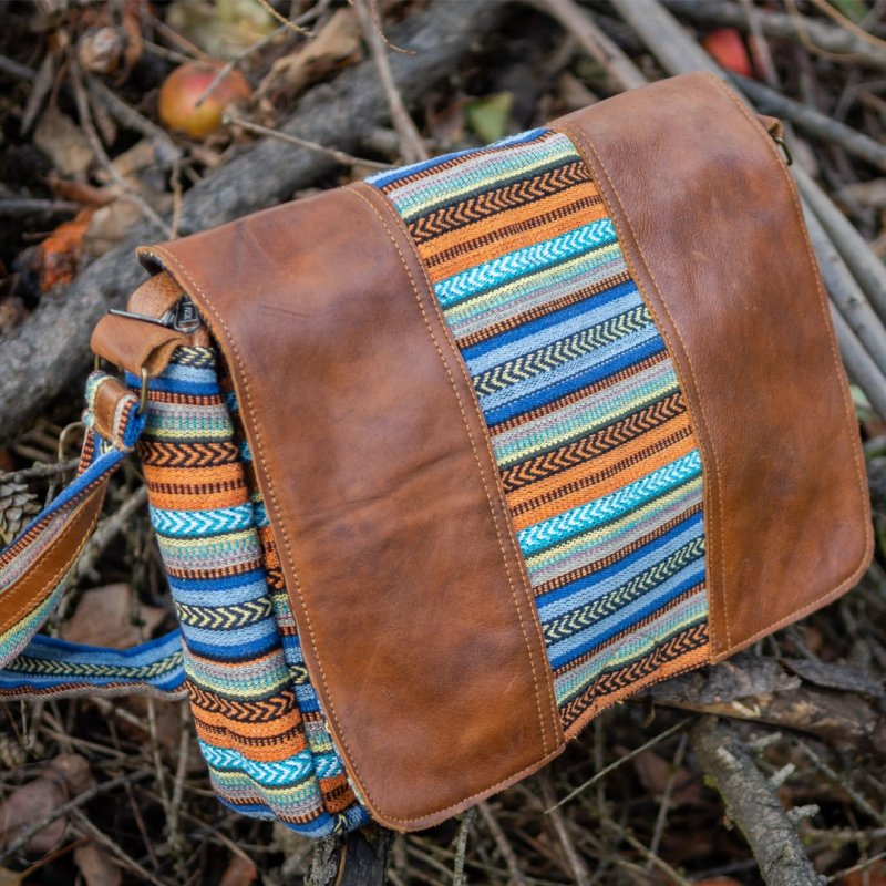GANGA 2 Cotton and Buffalo Leather Messenger Bag