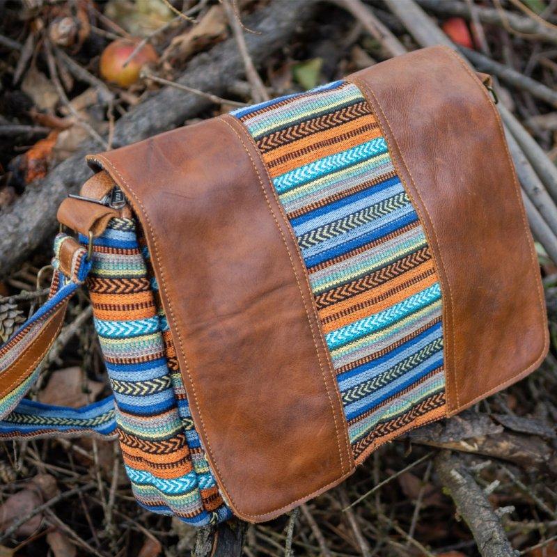 GANGA 2 Cotton and Buffalo Leather Messenger Bag