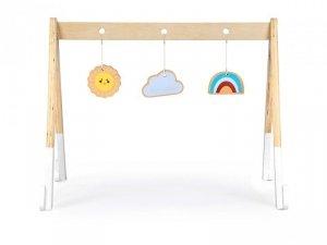 Stojak gimnastyczny edukacyjny drewniany + zabawki