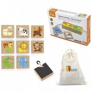 Viga Drewniane Puzzle Magnetyczne Zwierzęta Układanka Certyfikat FSC