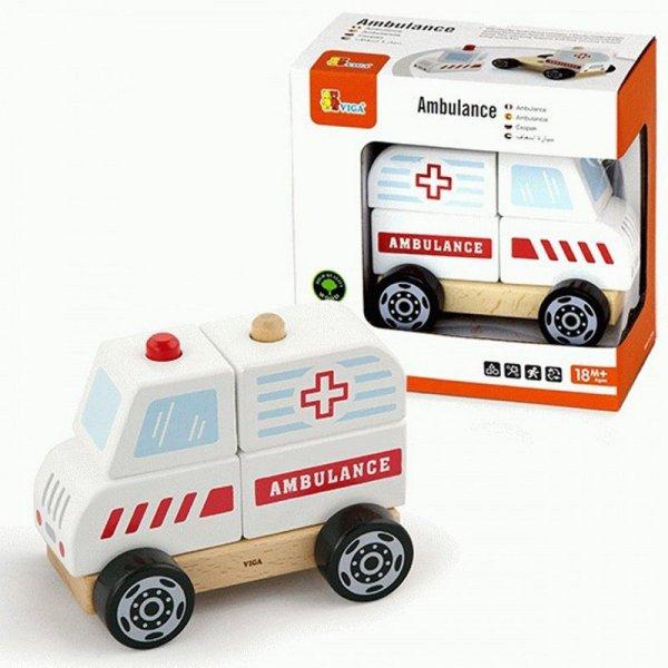 Viga Drewniane Klocki Ambulans Karetka Pojazd Auto Pogotowie