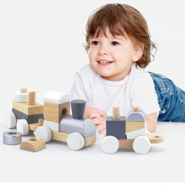 Drewniana Kolejka z wagonikami do ciągania Viga Toys + Klocki