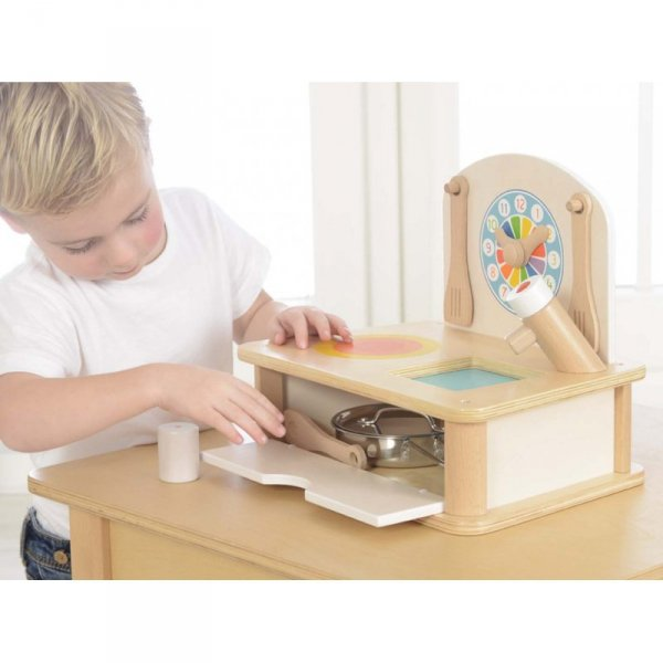 Drewniana Mini Kuchenka Dla Dzieci Masterkidz + Akcesoria