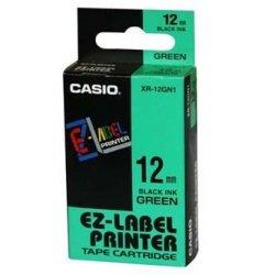 Casio oryginalna taśma do drukarek etykiet. Casio. XR-12GN1. czarny druk/zielony podkład. nielaminowany. 8m. 12mm