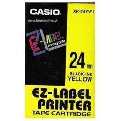 Casio oryginalna taśma do drukarek etykiet. Casio. XR-24YW1. czarny druk/żółty podkład. nielaminowany. 8m. 24mm