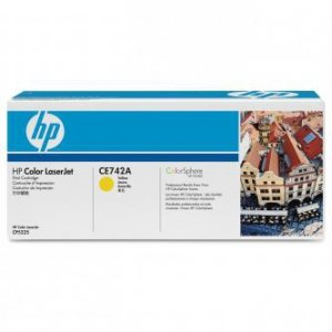 HP oryginalny toner CE742A. yellow. 7300s. HP Color LaserJet CP5225 CE742A