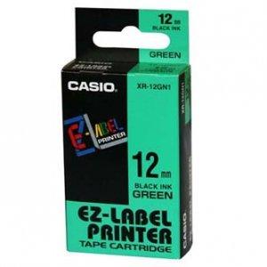 Casio oryginalna taśma do drukarek etykiet. Casio. XR-12GN1. czarny druk/zielony podkład. nielaminowany. 8m. 12mm XR-12GN1