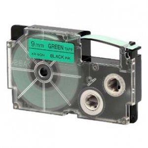 Casio oryginalna taśma do drukarek etykiet. Casio. XR-9GN1. czarny druk/zielony podkład. nielaminowany. 8m. 9mm XR-9GN1
