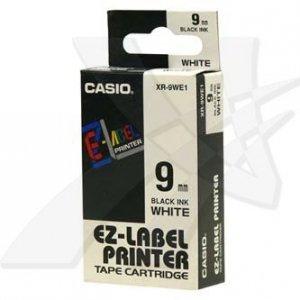 Casio oryginalna taśma do drukarek etykiet. Casio. XR-9WE1. czarny druk/biały podkład. nielaminowany. 8m. 9mm XR-9WE1