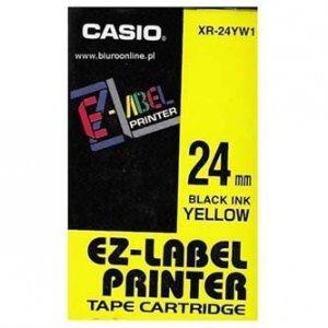 Casio oryginalna taśma do drukarek etykiet. Casio. XR-24YW1. czarny druk/żółty podkład. nielaminowany. 8m. 24mm XR-24YW1