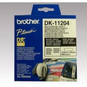 Brother etykiety papierowe 17mm x 54mm. biała. 400 szt.. DK11204. do drukarek typu QL DK11204