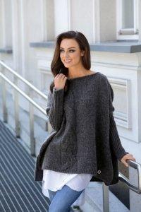 Modny sweter poncho LS240 grafit