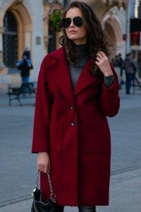 Płaszcz 0013 Bordowy Roco Fashion