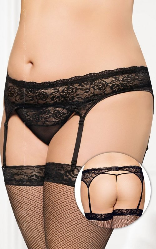 Garterbelt 3305 - Plus Size - black pas do pończoch i stringi