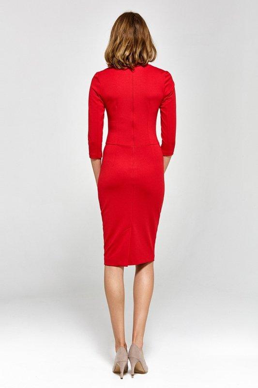 Sukienka z dekoltem w literę V - czerwony - CS17