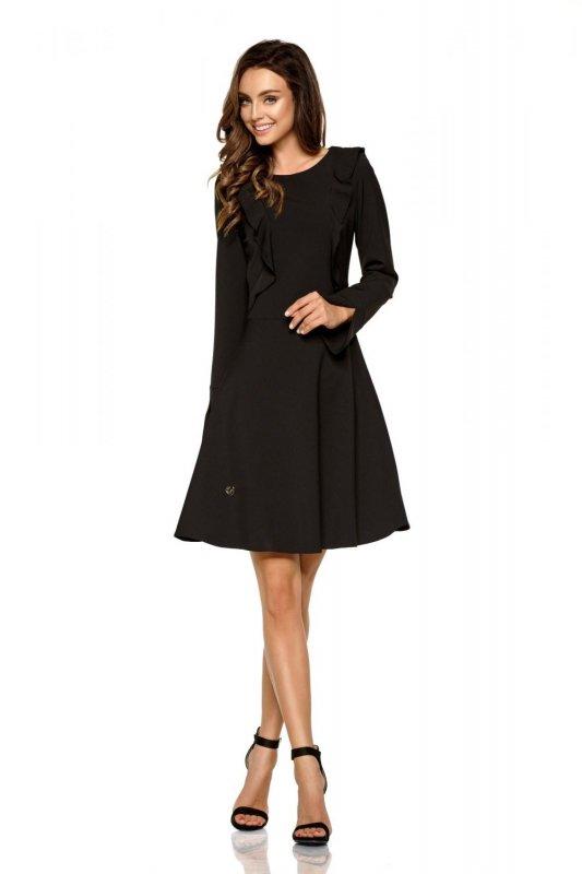 Klasyczna sukienka z długim rękawem L271 czarny