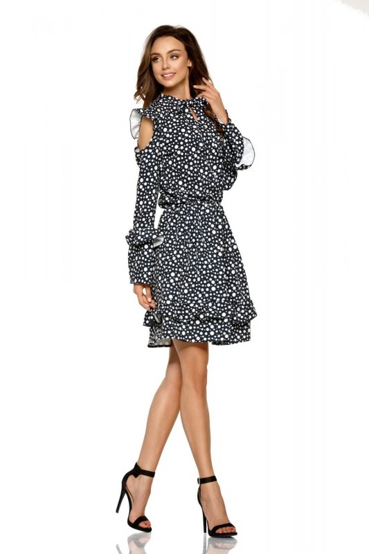 Modna sukienka z wyciętymi ramionami L276 kropki