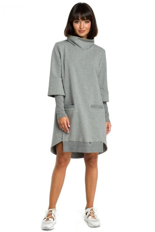B089 Sukienka z golfem - szara