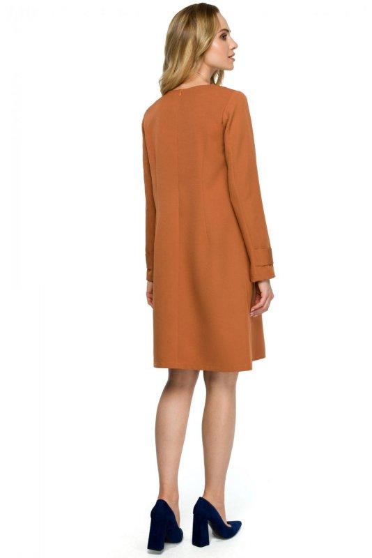 S117 Sukienka trapezowa - ruda