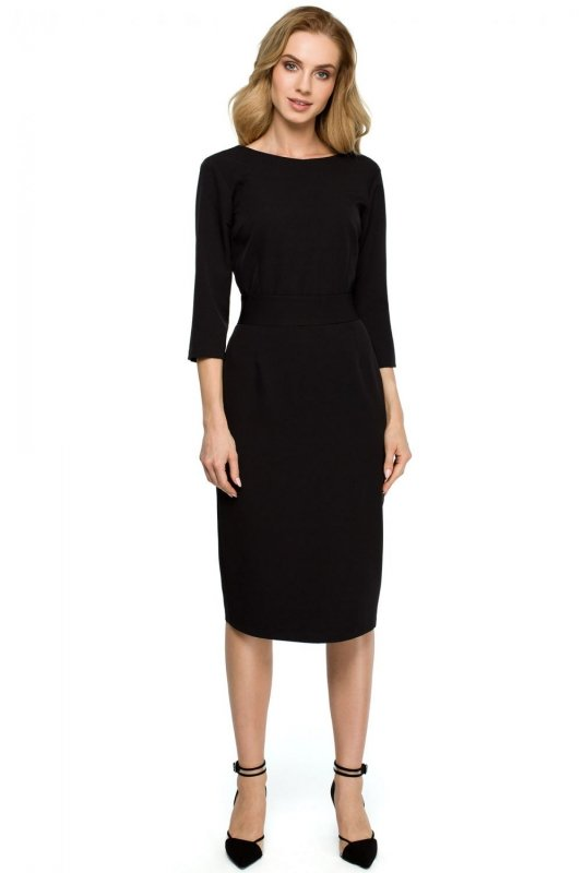 S119 Sukienka ołówkowa z guzikami z tyłu - mała czarna