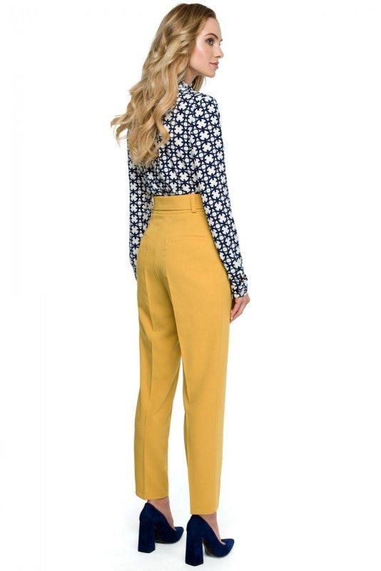 S124 Spodnie z wysokim stanem i paskiem - żółte