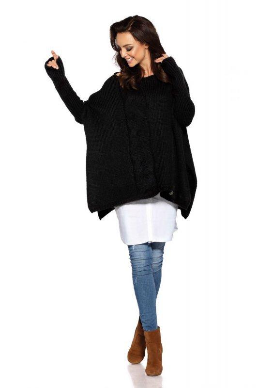 Modny sweter poncho LS240 czarny