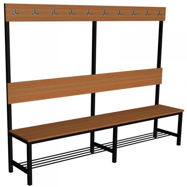 ławka korytarzowo szatniowa z półką na buty premium 1-str. z oparciem i wieszakiem 1,5m lub 1,8m lub 2,0m