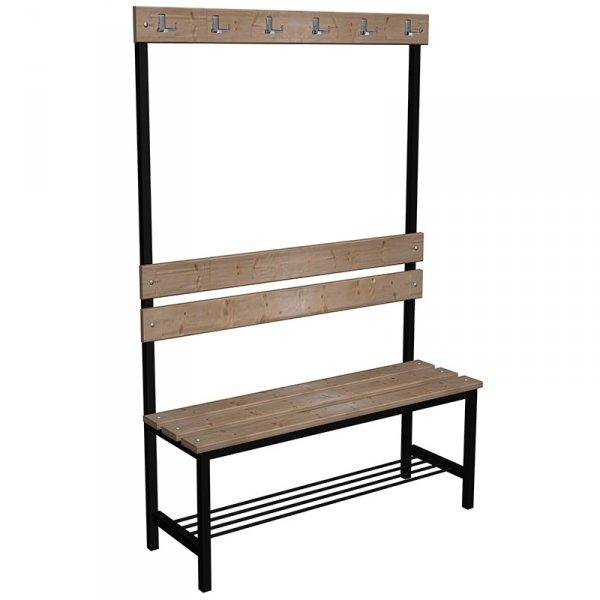 ławka korytarzowo szatniowa z półką na buty premium 1-str. z oparciem i wieszakiem 1m lub 1,2m