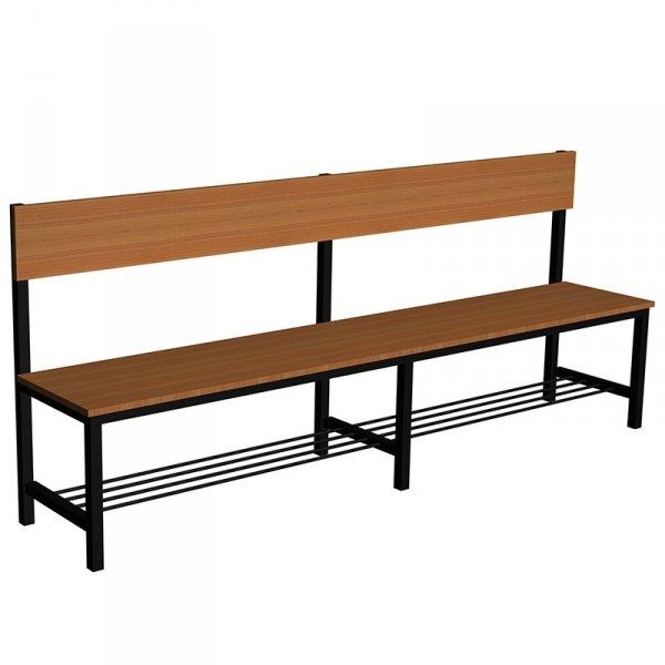 ławka korytarzowo szatniowa z półką na buty premium 1-str. z oparciem 1,5m lub 1,8m lub 2,0m
