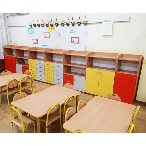 zestaw szafek przedszkolnych, regały przedszkolne,szafki z szufladami,szafki przedszkolne,szafeczki przedszkolne