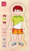 SMALL FOOT Puzzle Drewniane - Anatomia Ciała (chłopiec)