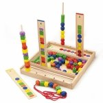 Drewniana Gra edukacyjna Logiczne koraliki Viga Toys 104 elementy