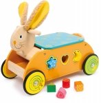 SMALL FOOT Rabbit Ride-on with Shape Sorter - jeździk z sorterem kształtów