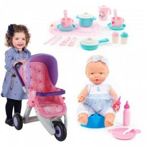 Zestaw naczyń z tacą + wózek fioletowy dla lalek + wysoły bobas z akcesoriami  Wader QT Polesie