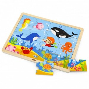 VIGA Drewniane Puzzle Ocean 16 elementów