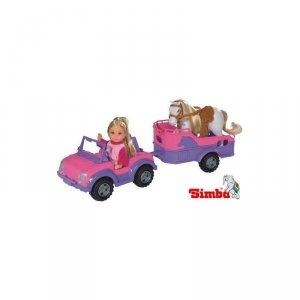 Simba Lalka Evi z koniem + jeep z przyczepa