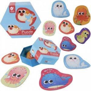 CLASSIC WORLD Drewniane Puzzle Zwierzątka Wodne Układanka Dla Dzieci 6 Obrazków 24 el.