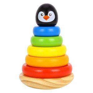 TOOKY TOY Drewniana Układanka Piramidka Pingwin
