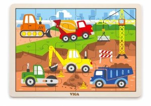 Viga 51463 Puzzle na podkładce 24 elementy - na budowie