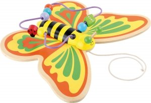 SMALL FOOT Pull-along Toy and Bead Chaser Butterfly - motylek na kółkach do ciągnięcia