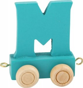 Dekoracja SMALL FOOT wagon do lokomotywy z literą M (kolor niebieski)