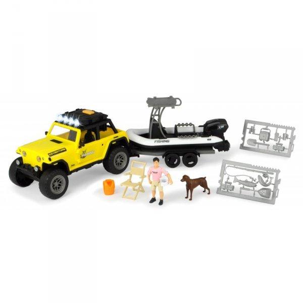 Dickie Play Life - Zestaw Wyjazd na ryby Samochód Jeep z lawetą i łodzią + Akcesoria